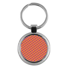Vibrant Retro Diamond Pattern Key Chains (Round)