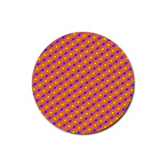 Vibrant Retro Diamond Pattern Rubber Round Coaster (4 Pack)  by DanaeStudio