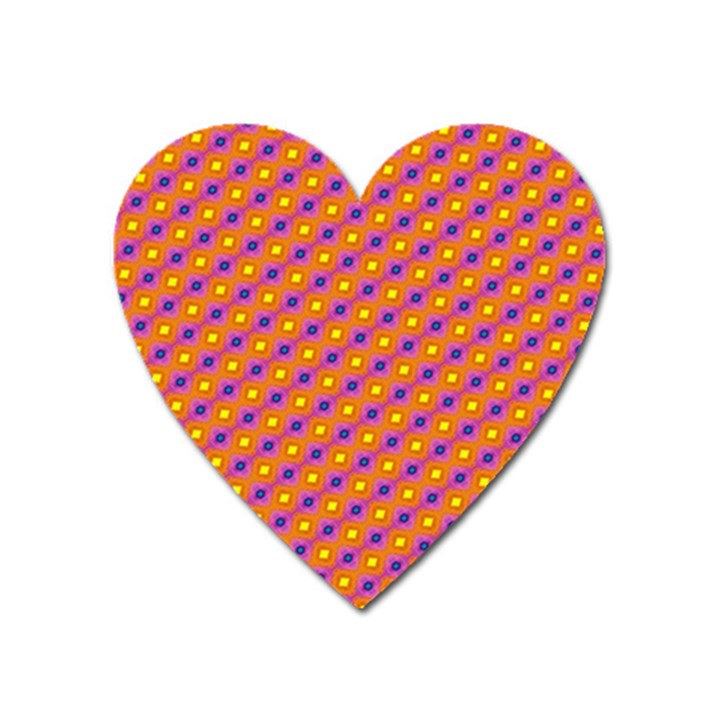 Vibrant Retro Diamond Pattern Heart Magnet