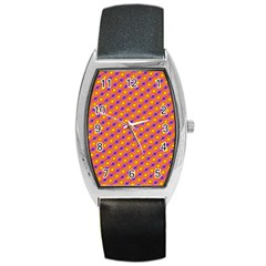 Vibrant Retro Diamond Pattern Barrel Style Metal Watch