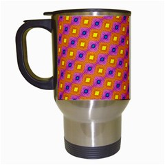 Vibrant Retro Diamond Pattern Travel Mugs (White)