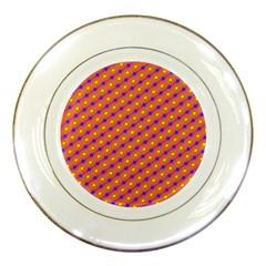 Vibrant Retro Diamond Pattern Porcelain Plates