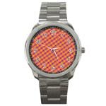 Vibrant Retro Diamond Pattern Sport Metal Watch Front