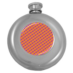 Vibrant Retro Diamond Pattern Round Hip Flask (5 oz)