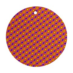 Vibrant Retro Diamond Pattern Round Ornament (Two Sides)