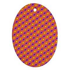 Vibrant Retro Diamond Pattern Oval Ornament (Two Sides)