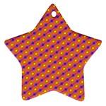 Vibrant Retro Diamond Pattern Star Ornament (Two Sides)  Front