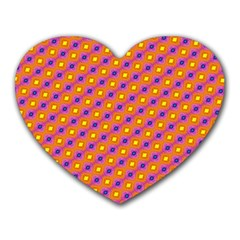 Vibrant Retro Diamond Pattern Heart Mousepads