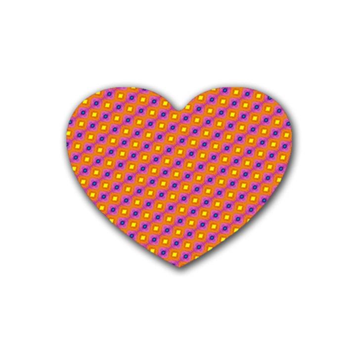 Vibrant Retro Diamond Pattern Rubber Coaster (Heart)