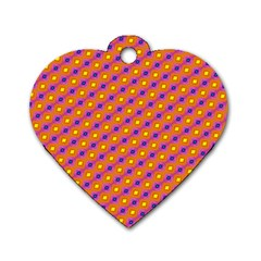 Vibrant Retro Diamond Pattern Dog Tag Heart (One Side)