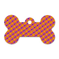 Vibrant Retro Diamond Pattern Dog Tag Bone (Two Sides)