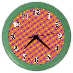 Vibrant Retro Diamond Pattern Color Wall Clocks by DanaeStudio