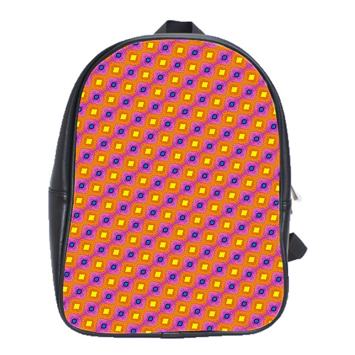 Vibrant Retro Diamond Pattern School Bags(Large)