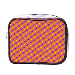 Vibrant Retro Diamond Pattern Mini Toiletries Bags