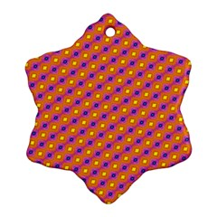 Vibrant Retro Diamond Pattern Snowflake Ornament (2 Side) by DanaeStudio