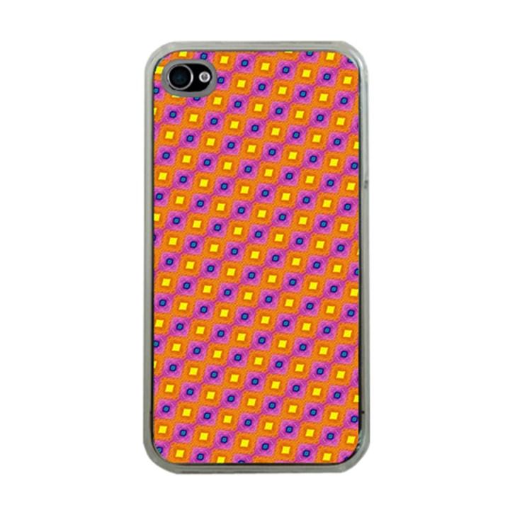 Vibrant Retro Diamond Pattern Apple iPhone 4 Case (Clear)