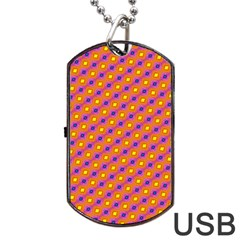 Vibrant Retro Diamond Pattern Dog Tag USB Flash (Two Sides)