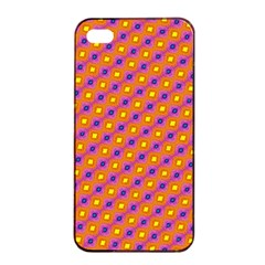 Vibrant Retro Diamond Pattern Apple Iphone 4/4s Seamless Case (black) by DanaeStudio