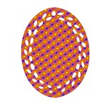 Vibrant Retro Diamond Pattern Ornament (Oval Filigree)  Front