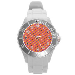 Vibrant Retro Diamond Pattern Round Plastic Sport Watch (L)