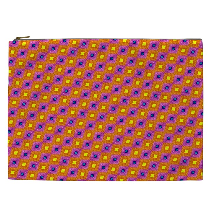 Vibrant Retro Diamond Pattern Cosmetic Bag (XXL)