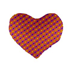 Vibrant Retro Diamond Pattern Standard 16  Premium Heart Shape Cushions by DanaeStudio