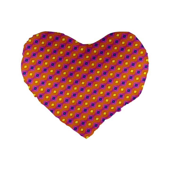 Vibrant Retro Diamond Pattern Standard 16  Premium Heart Shape Cushions