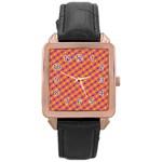 Vibrant Retro Diamond Pattern Rose Gold Leather Watch