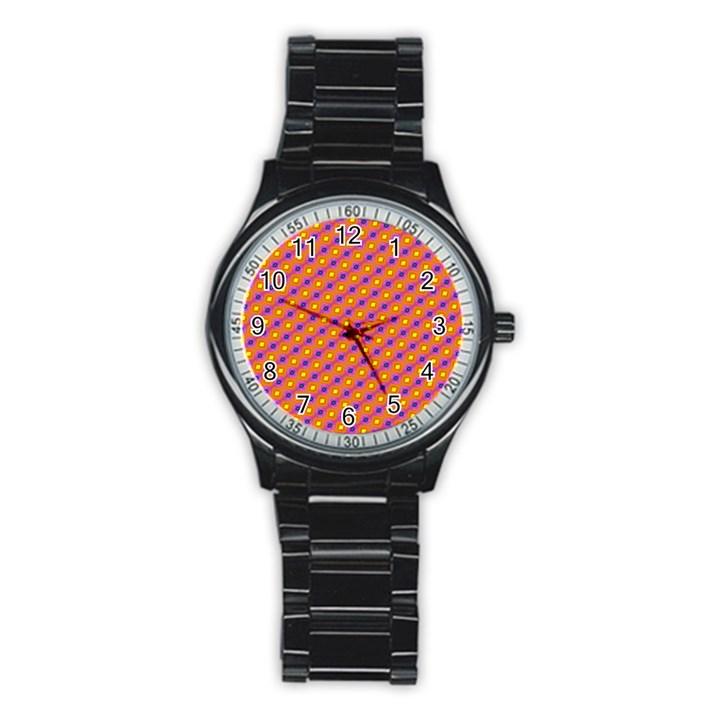 Vibrant Retro Diamond Pattern Stainless Steel Round Watch