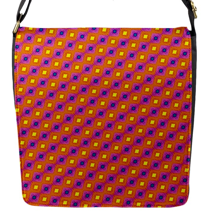 Vibrant Retro Diamond Pattern Flap Messenger Bag (S)