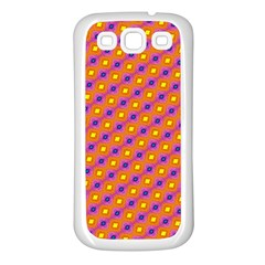Vibrant Retro Diamond Pattern Samsung Galaxy S3 Back Case (white) by DanaeStudio