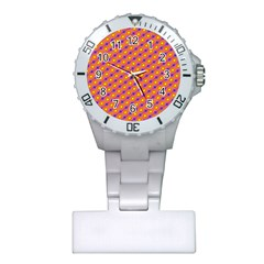 Vibrant Retro Diamond Pattern Plastic Nurses Watch
