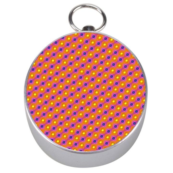 Vibrant Retro Diamond Pattern Silver Compasses