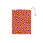 Vibrant Retro Diamond Pattern Drawstring Pouches (Small)  Front