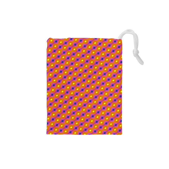 Vibrant Retro Diamond Pattern Drawstring Pouches (Small)