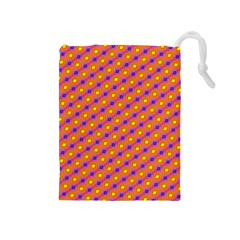 Vibrant Retro Diamond Pattern Drawstring Pouches (Medium)