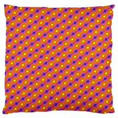 Vibrant Retro Diamond Pattern Large Flano Cushion Case (One Side)