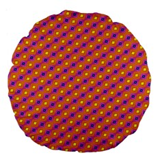 Vibrant Retro Diamond Pattern Large 18  Premium Flano Round Cushions