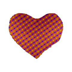 Vibrant Retro Diamond Pattern Standard 16  Premium Flano Heart Shape Cushions