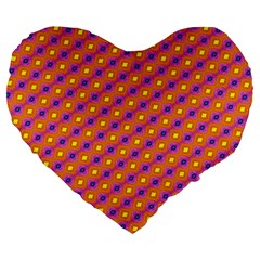 Vibrant Retro Diamond Pattern Large 19  Premium Flano Heart Shape Cushions