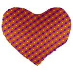 Vibrant Retro Diamond Pattern Large 19  Premium Flano Heart Shape Cushions Front