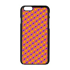 Vibrant Retro Diamond Pattern Apple Iphone 6/6s Black Enamel Case by DanaeStudio
