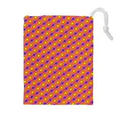 Vibrant Retro Diamond Pattern Drawstring Pouches (Extra Large)
