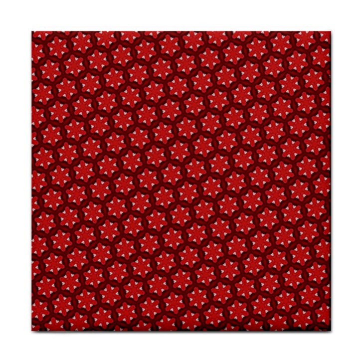 Red Passion Floral Pattern Tile Coasters