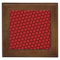Red Passion Floral Pattern Framed Tiles by DanaeStudio