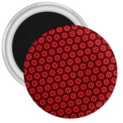 Red Passion Floral Pattern 3  Magnets by DanaeStudio