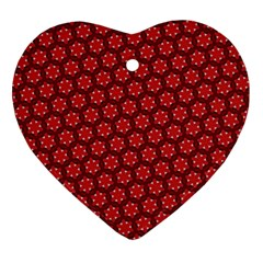 Red Passion Floral Pattern Ornament (heart)  by DanaeStudio