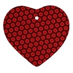 Red Passion Floral Pattern Ornament (Heart)