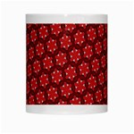 Red Passion Floral Pattern White Mugs Center