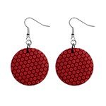Red Passion Floral Pattern Mini Button Earrings